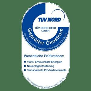 TÜN Nord - geprüfter Ökostrom